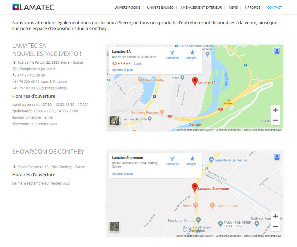 Page contact Google Maps