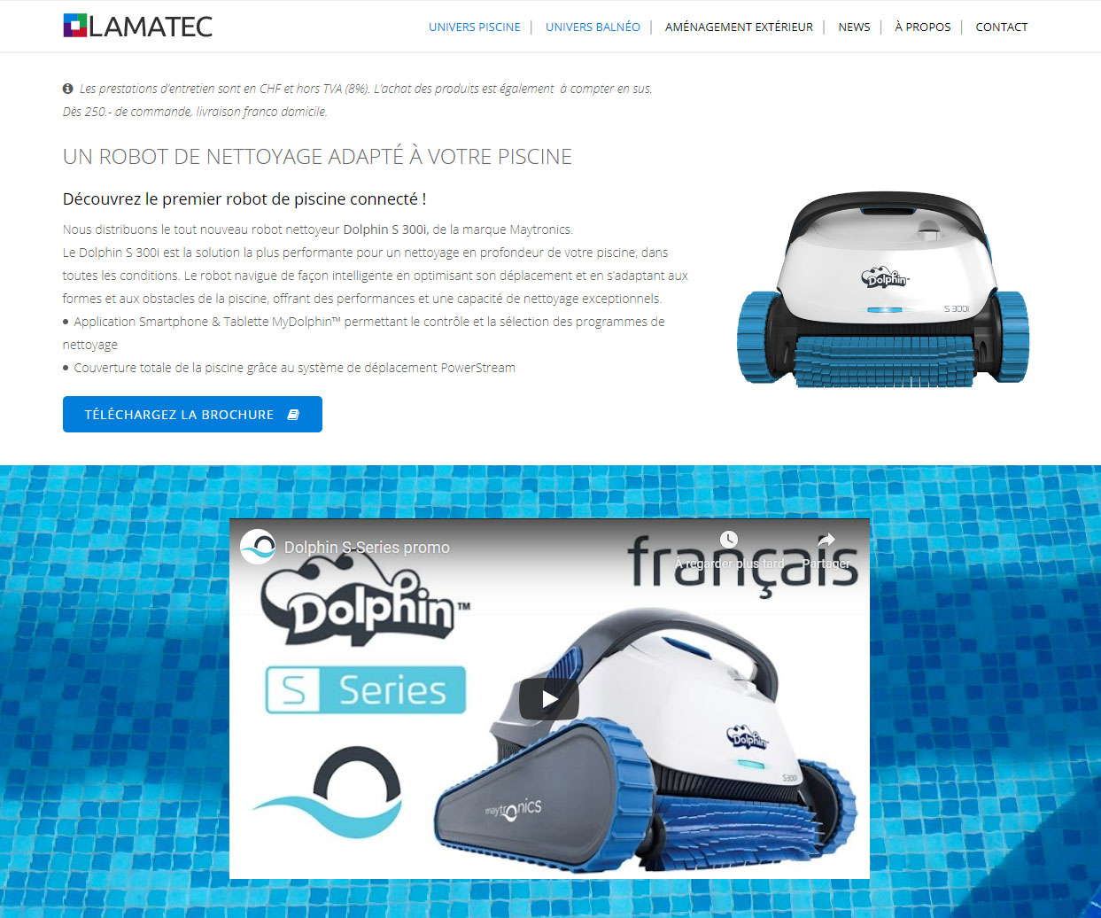 Gestion du site lamatec.ch - Page Entretien piscine, robot nettoyeur