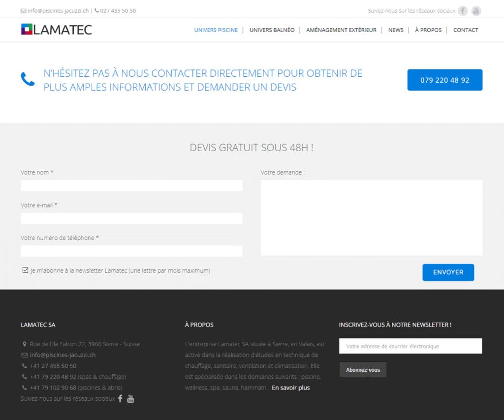 Gestion du site lamatec.ch - Refonte des formulaires de contact et Call to Action