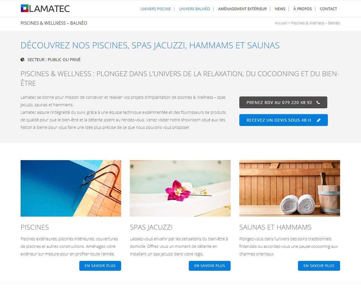 lamatec, page piscines et spas