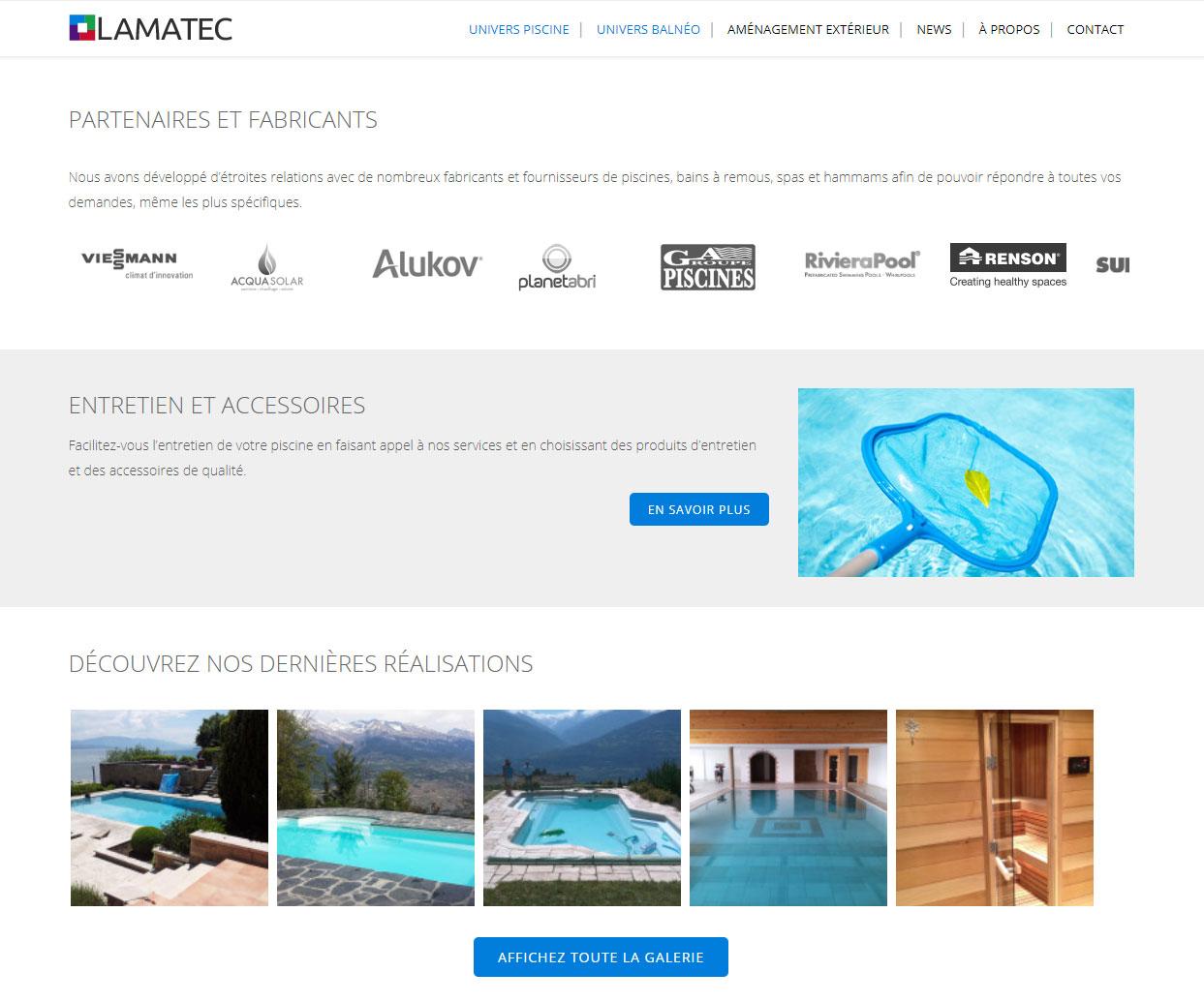 Gestion du site lamatec.ch - Page Piscines et spas