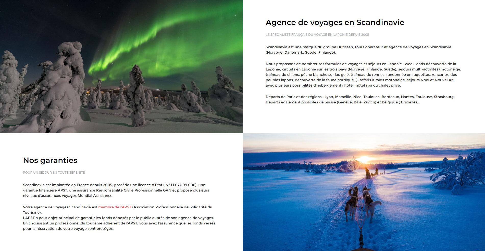 Création du site Scandinavia, page Agence