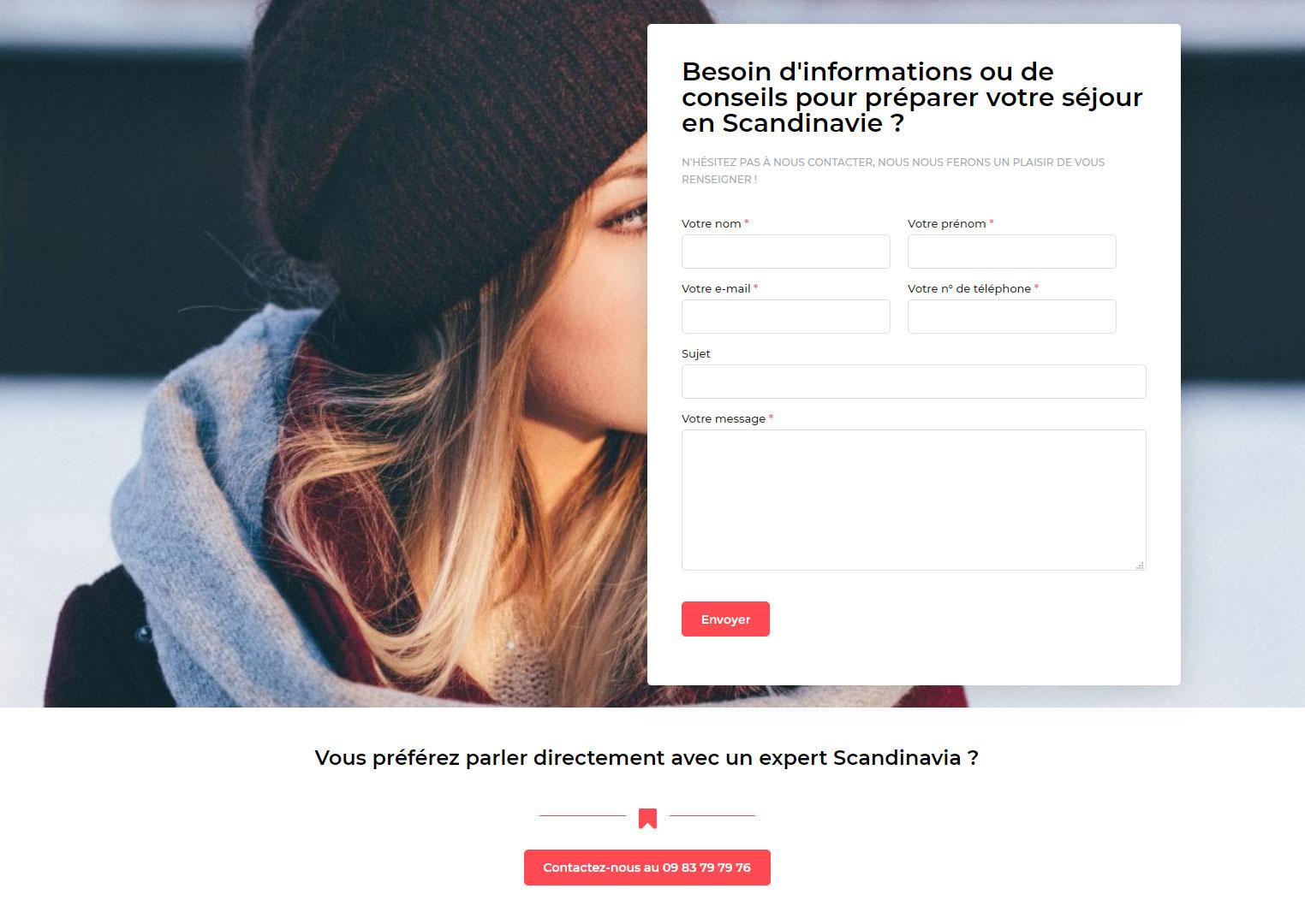 Création du site Scandinavia, page contact