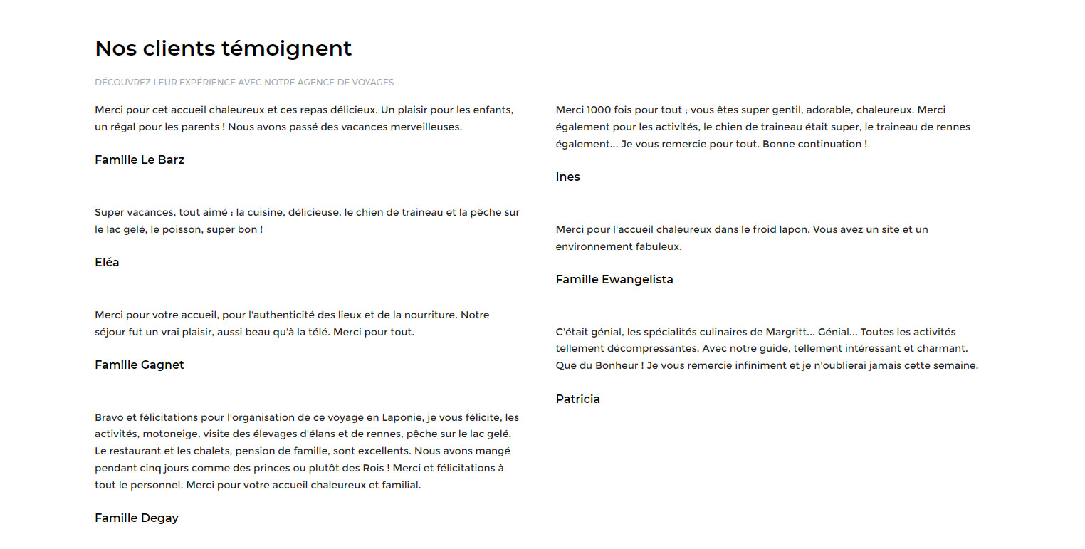 Scandinavia, Témoignages clients