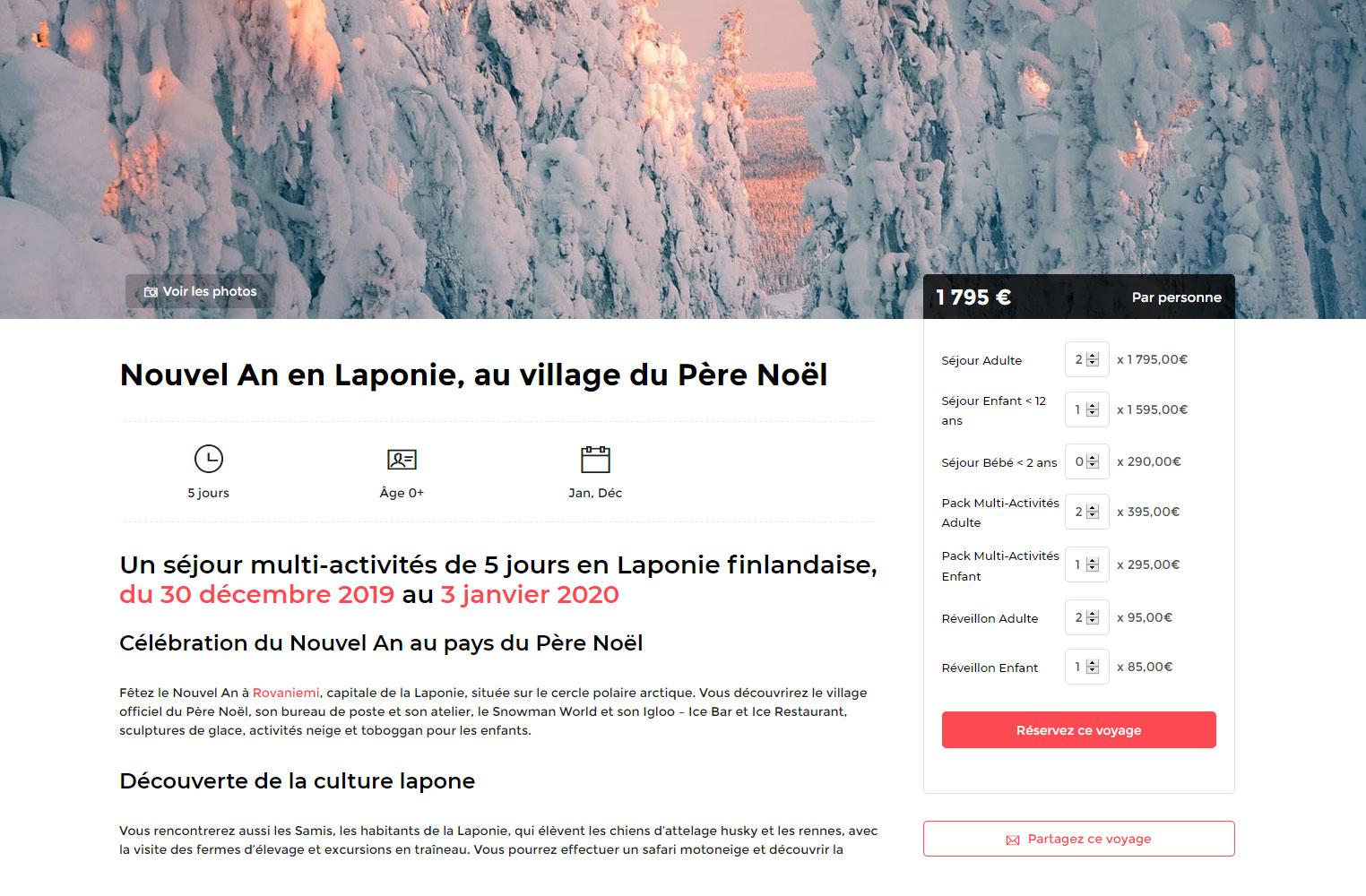 Création du site Scandinavia - page Séjour