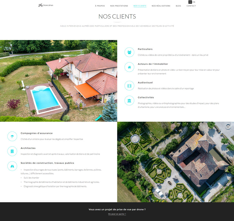 Création web, webdesign, wordpress - Conception du site droneleman.com - Section Clients