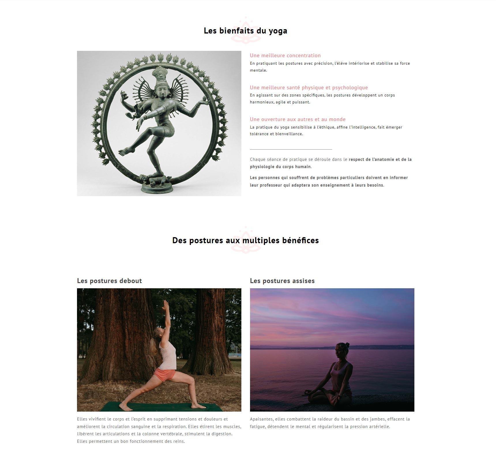 Création du site Yoga Thonon, les bienfaits de la pratique du yoga, asanas