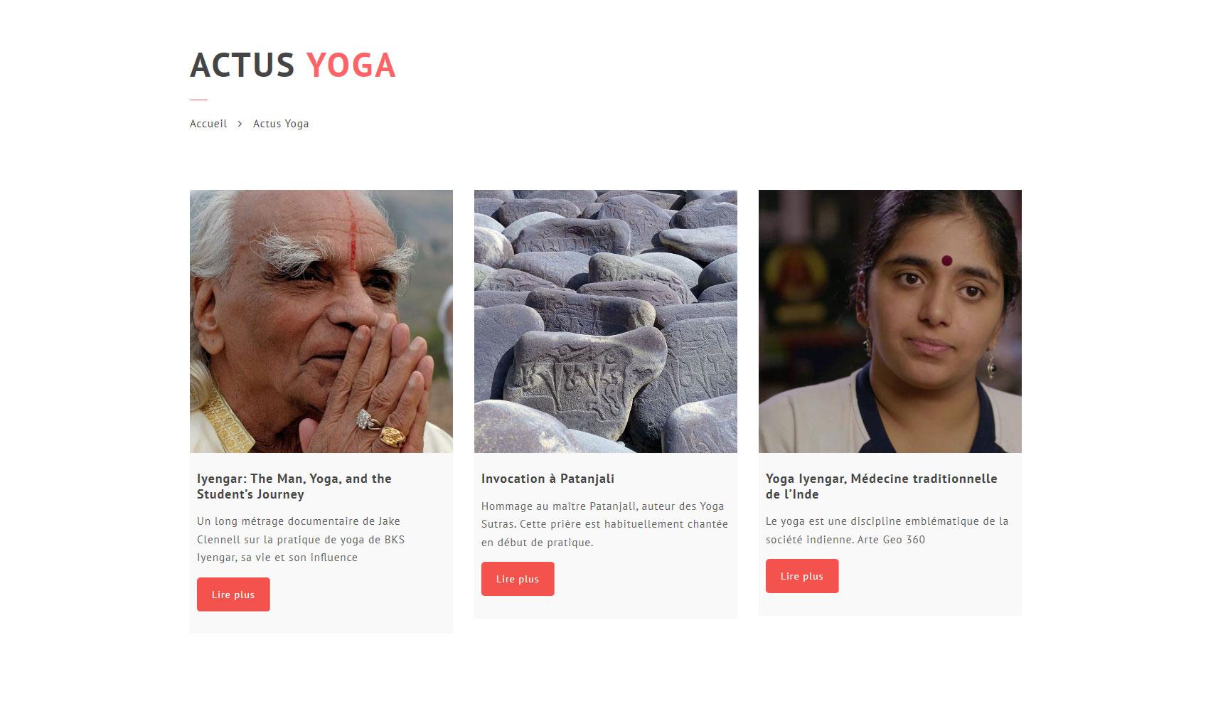 Création du site Yoga Thonon, page blog