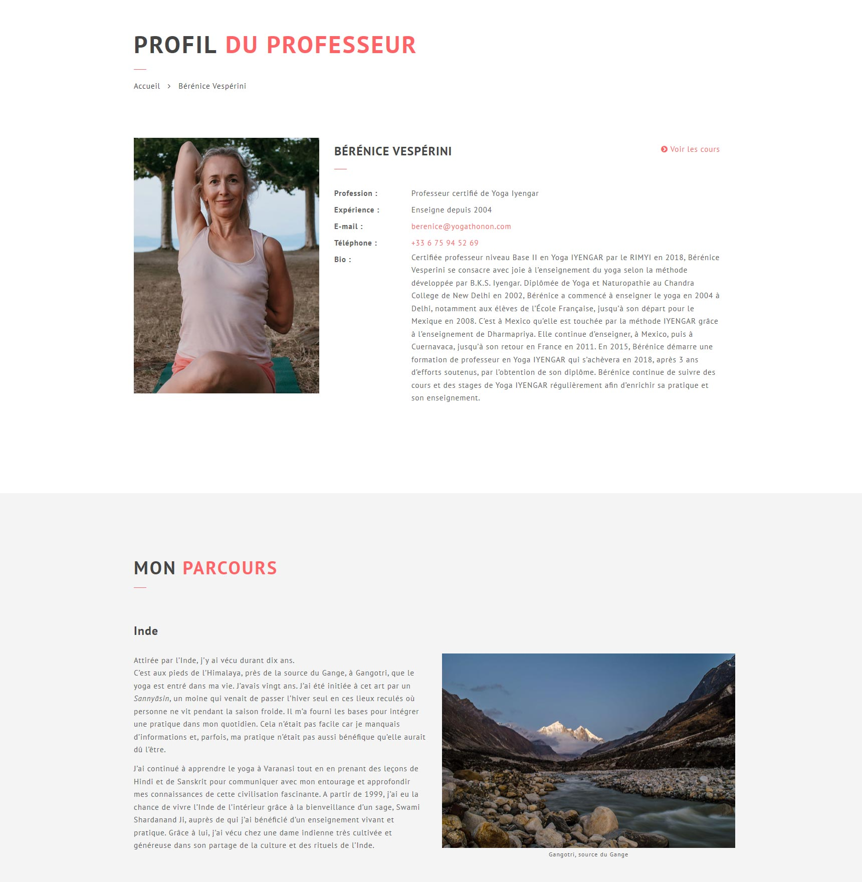 Création du site Yoga Thonon, profil du professeur