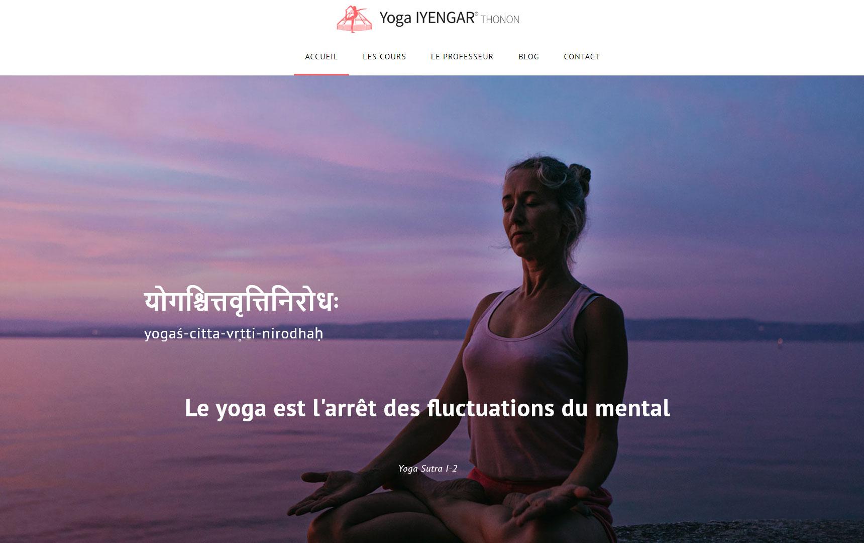 Création du site Yoga Thonon, diaporama de la page d'accueil