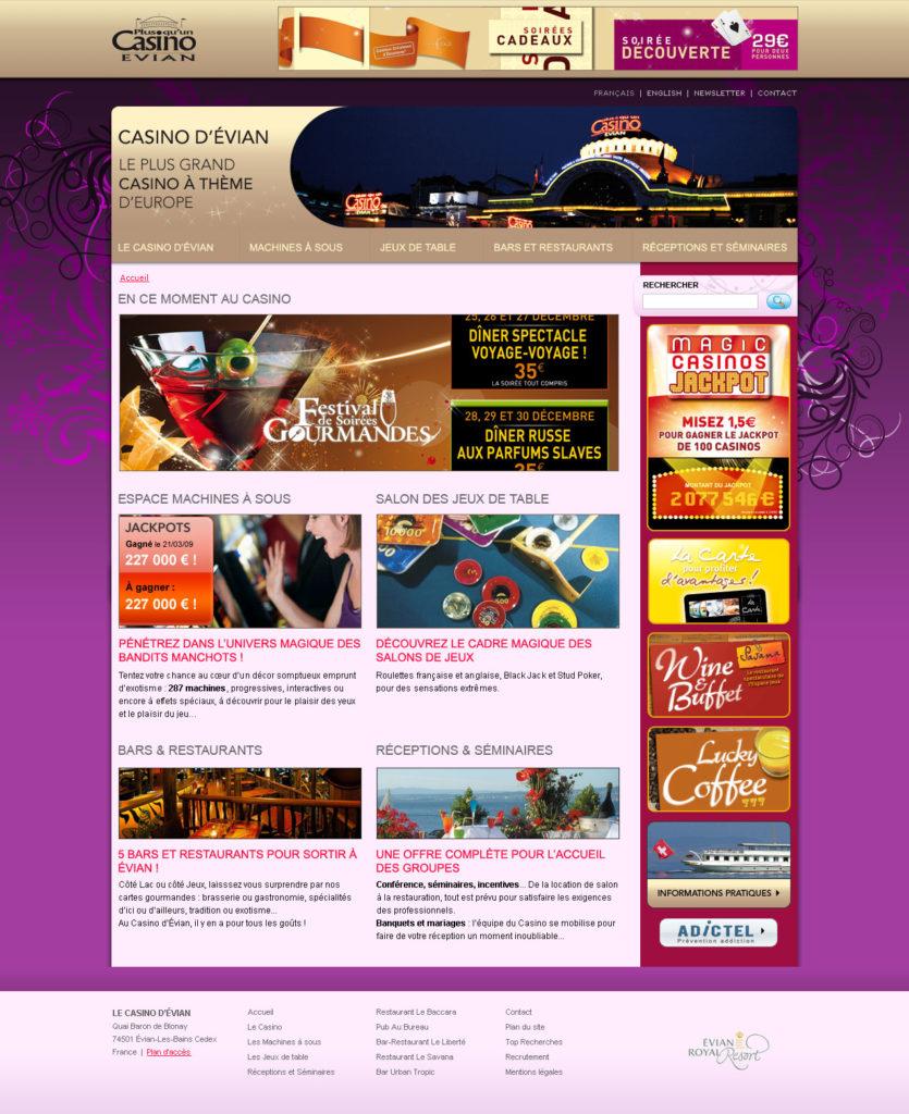 Création du site du casino d'Évian - Page d'accueil