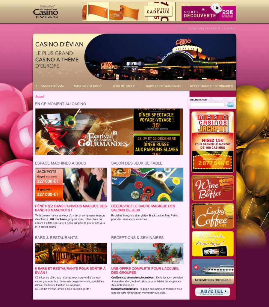 Casino d'Évian - Webdesign - Page d'accueil Balloon Party
