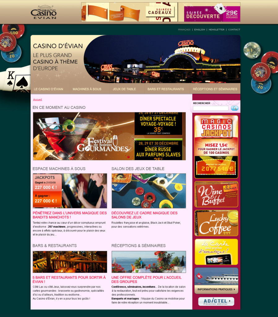 Conception du site du Casino d'Évian - Page d'accueil Poker