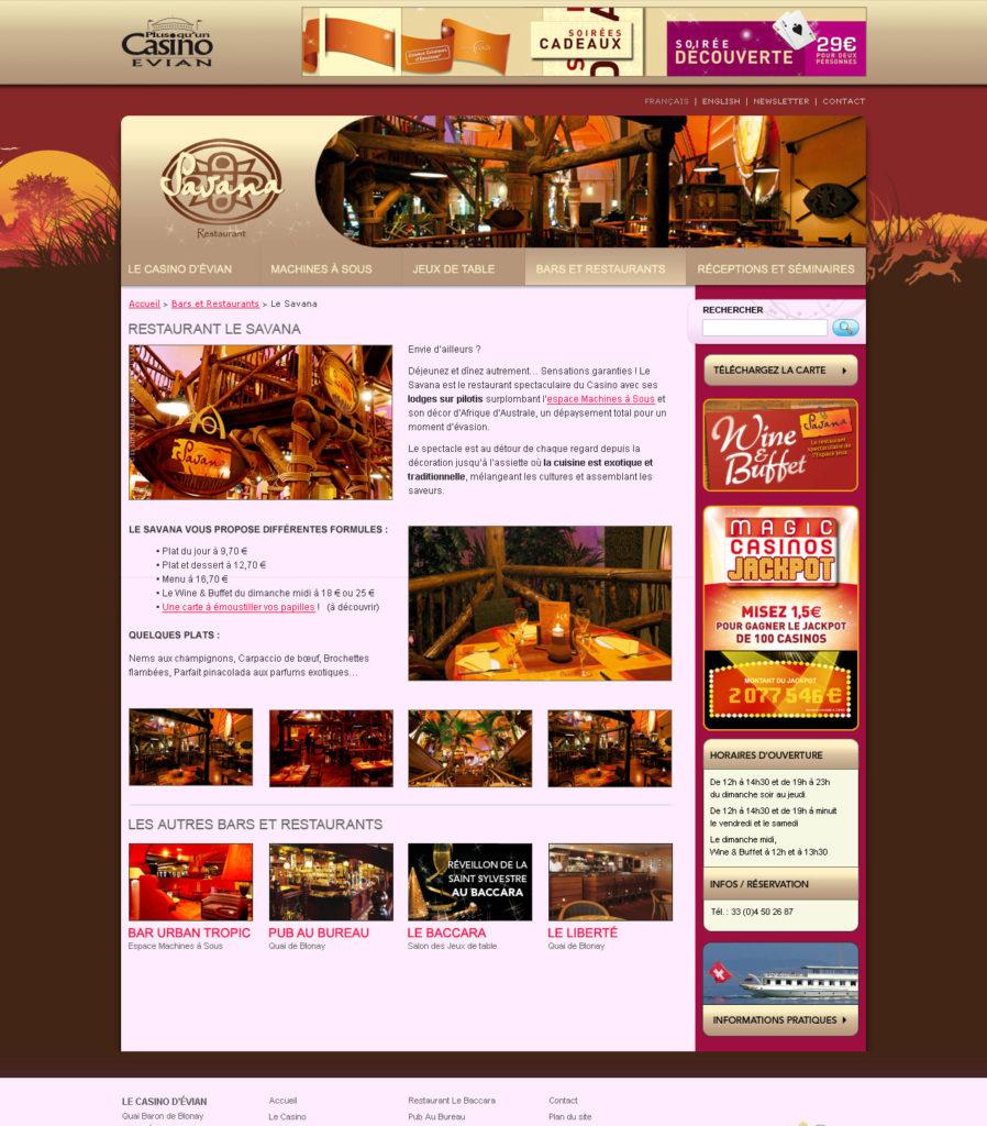 Design du Site Casino d'Évian - Page du Restaurant Savana